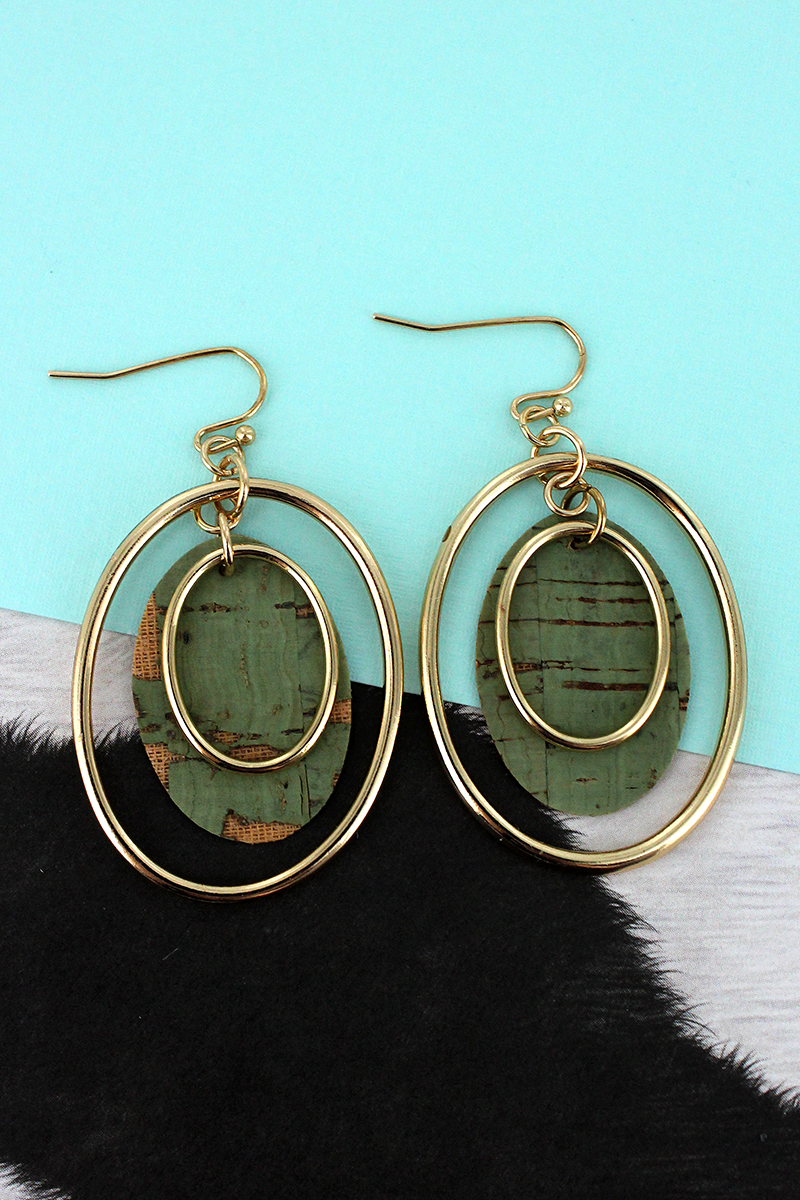 Goldtone and Mint Cork Layered Oval Earrings