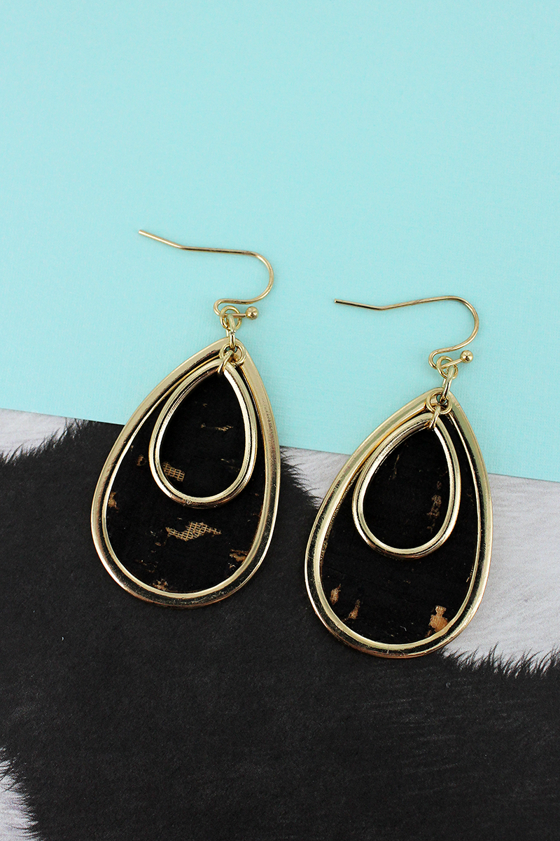 Goldtone and Black Cork Layered Teardrop Earrings