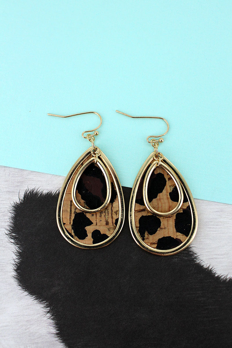 Goldtone and Leopard Cork Layered Teardrop Earrings