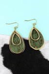 Goldtone and Mint Cork Layered Teardrop Earrings