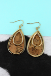 Goldtone and Cork Layered Teardrop Earrings