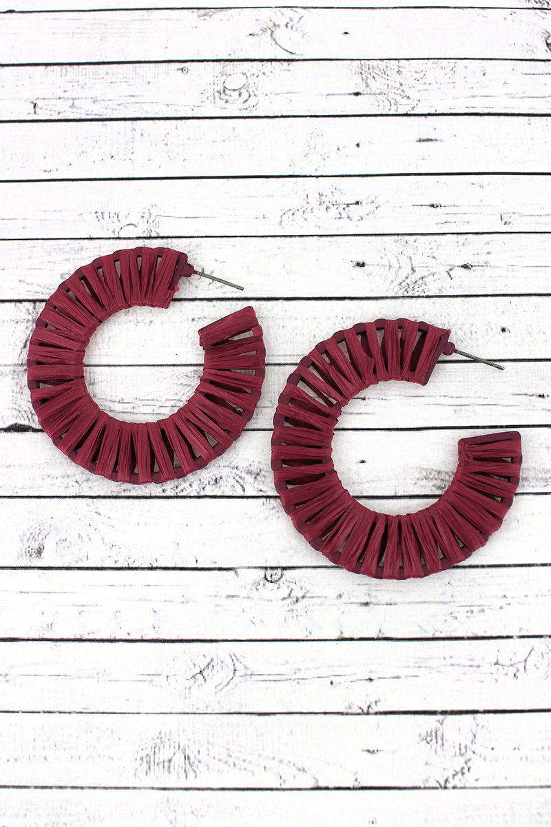 Burgundy Raffia Wrapped Hoop Earrings