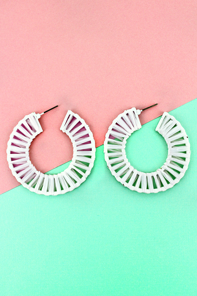 Ivory Raffia Wrapped Hoop Earrings