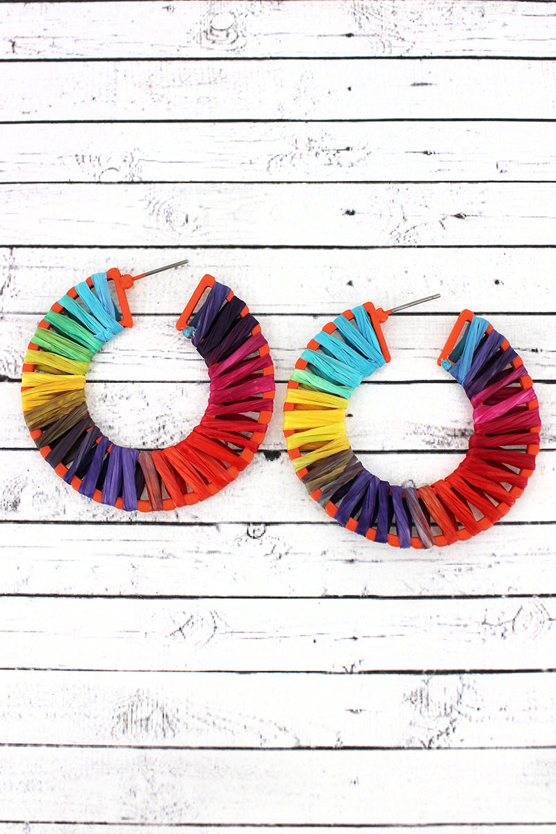 Multi Colored  Raffia Wrapped Hoop Earrings