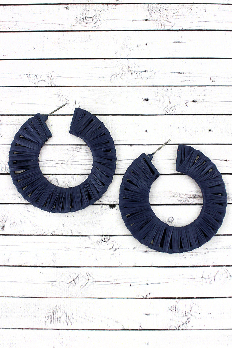 Navy Raffia Wrapped Hoop Earrings