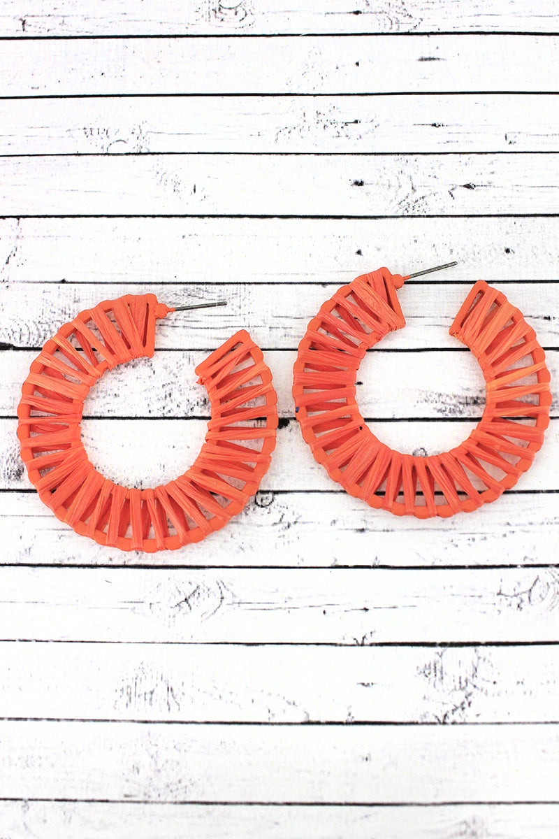 Orange Raffia Wrapped Hoop Earrings