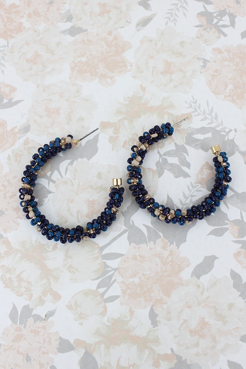 Navy Multi-Color Seed Bead Hoop Earrings