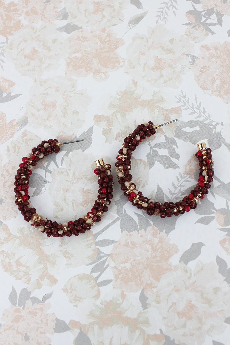 Burgundy Multi-Color Seed Bead Hoop Earrings