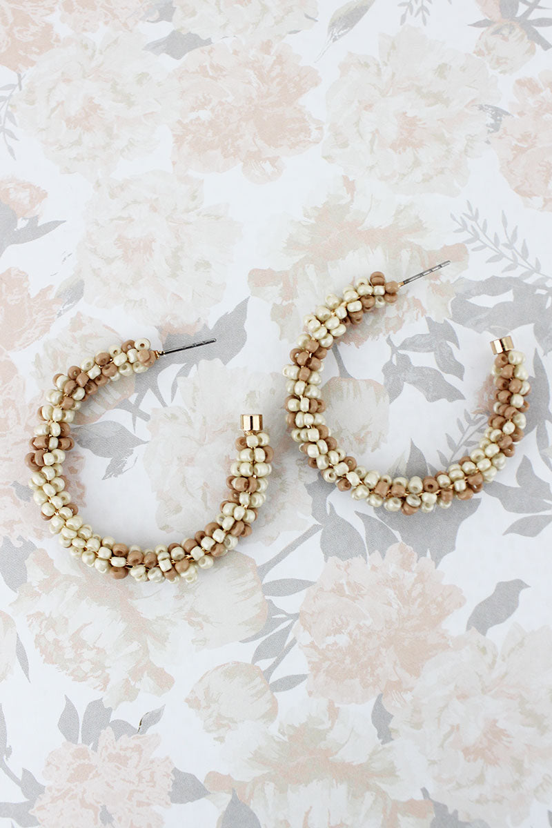 Ivory Two-Color Seed Bead Hoop Earrings