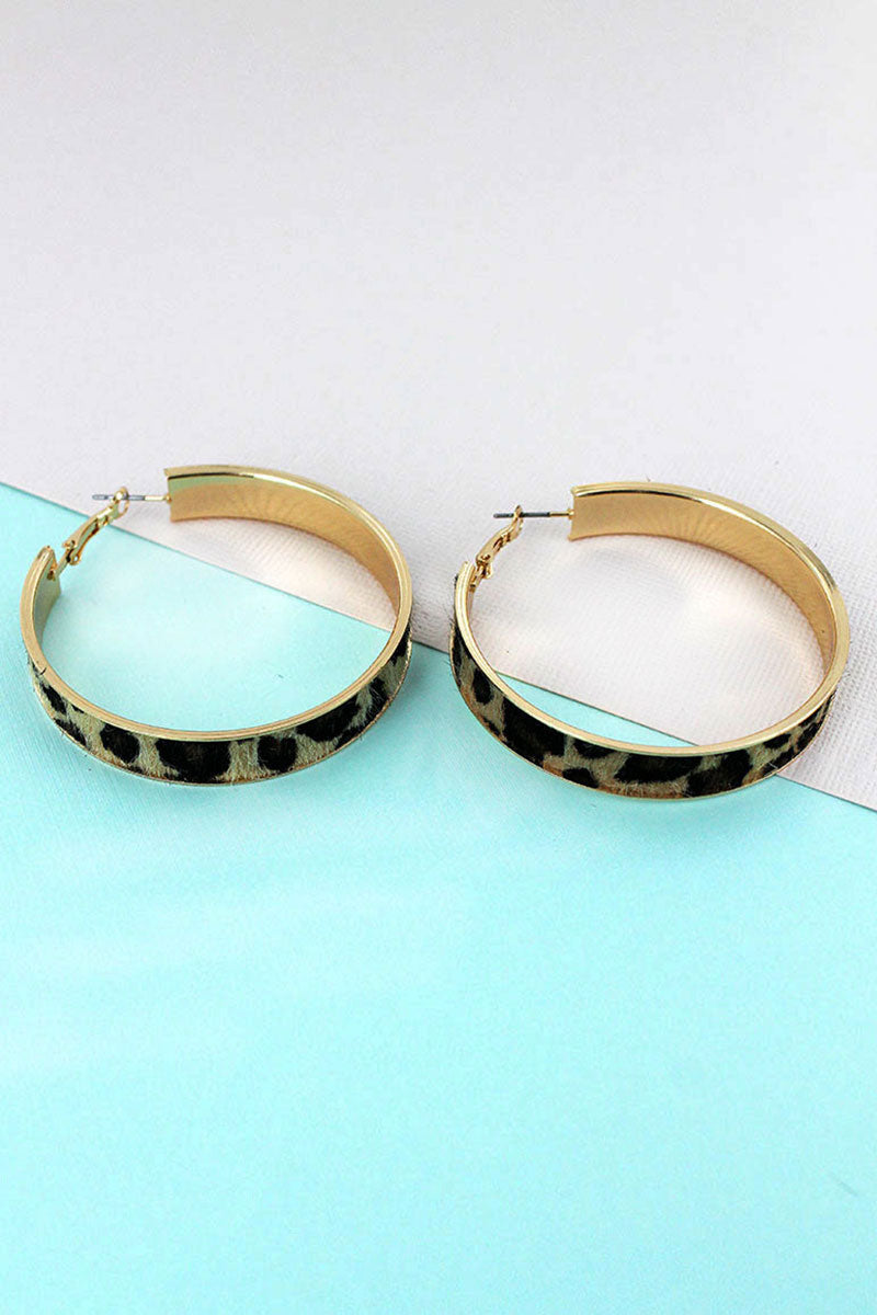 Brown Leopard and Goldtone Hoop Earrings