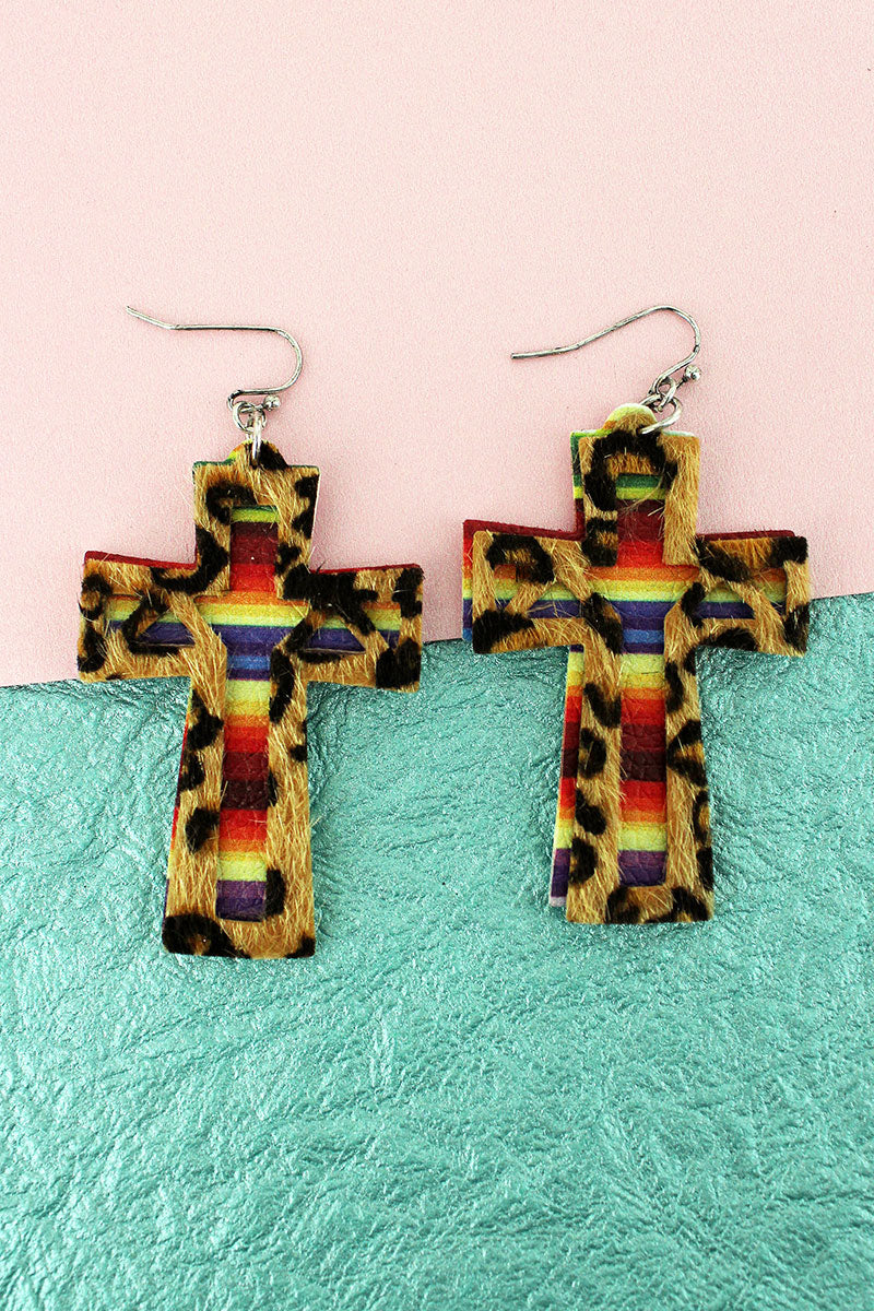 Layered Leopard and Serape Faux Leather Cross Earrings