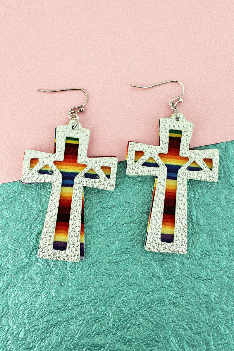 Layered Silver and Serape Faux Leather Cross Earrings