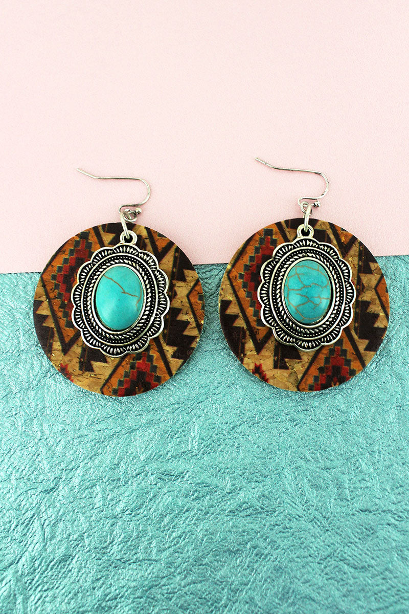 Southwestern Cork Disk and Turquoise Concho Earrings