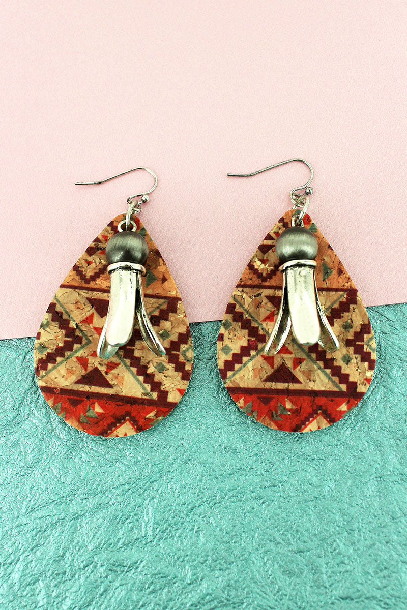 Southwestern Cork Teardrop and Squash Blossom Earrings