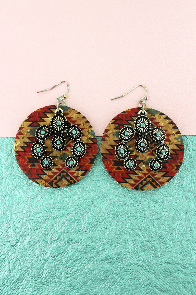 Southwestern Cork Disk and Turquoise Naja Earrings