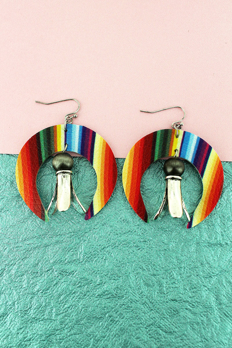 Faux Serape Leather Naja with Squash Blossom Charm Earrings