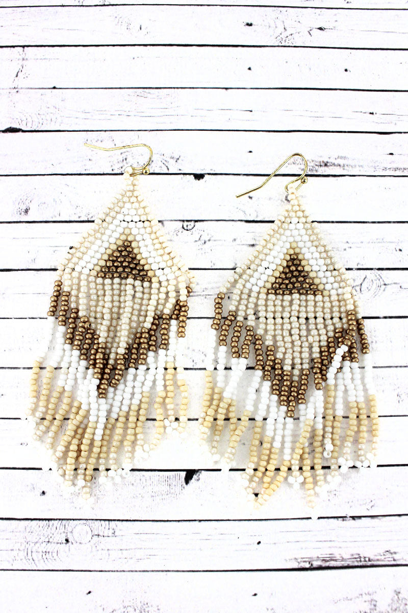 Ivory Multi-Color Southwestern Seed Bead Triangle Fringe Earrings