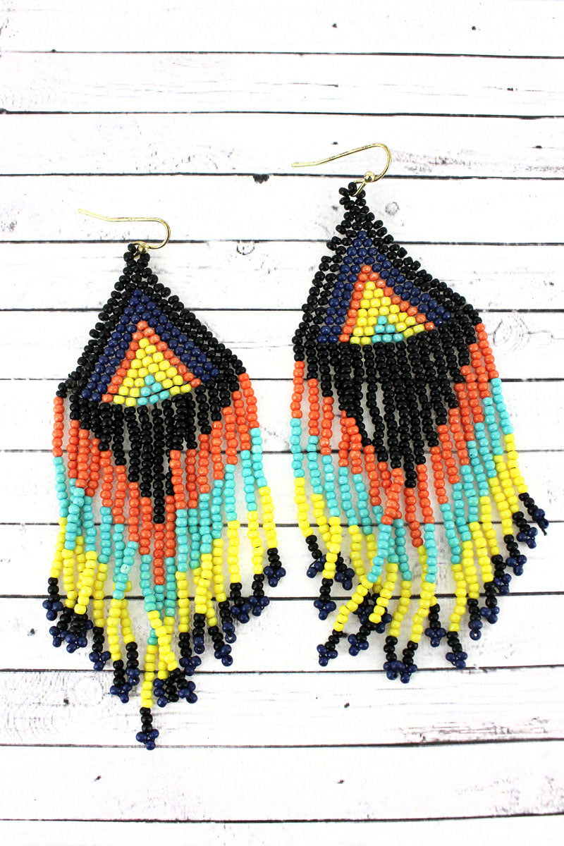 Multi-Color Southwestern Seed Bead Triangle Fringe Earrings