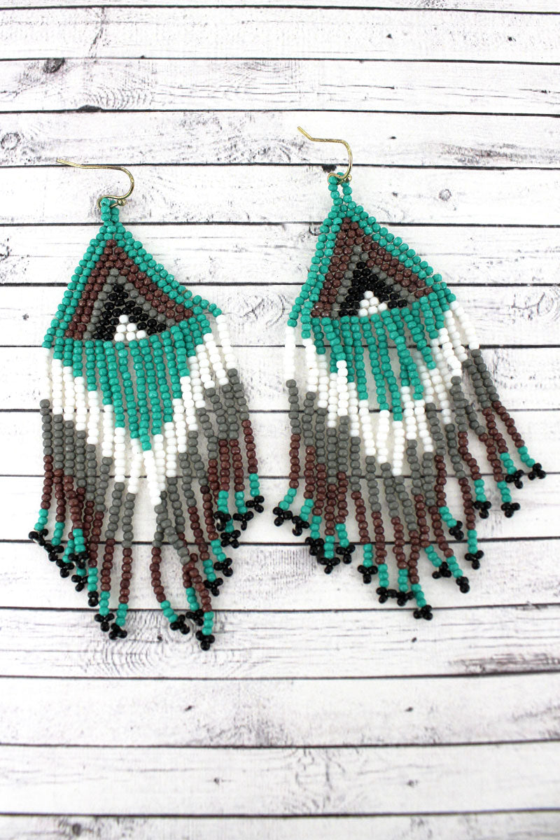 Turquoise Multi-Color Southwestern Seed Bead Triangle Fringe Earrings
