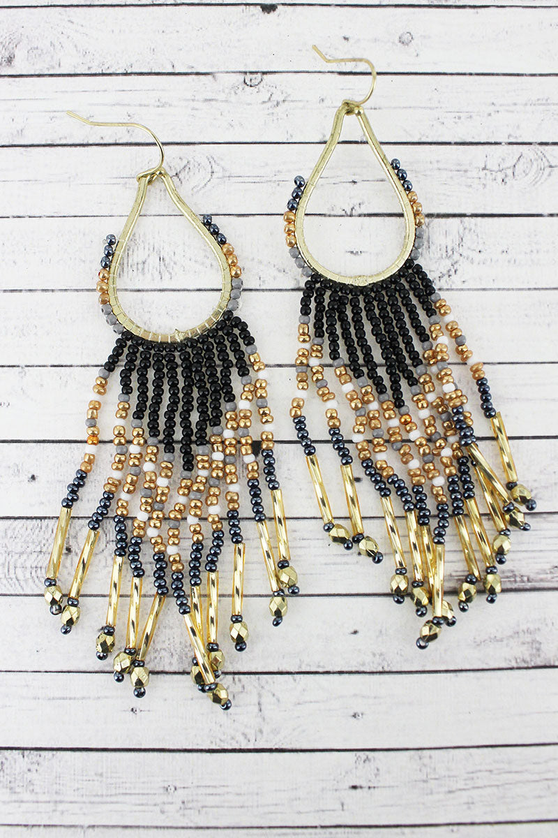 Goldtone and Black Multi-Color Seed Bead Teardrop Fringe Earrings