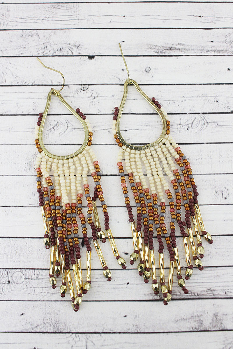 Goldtone and Ivory Multi-Color Seed Bead Teardrop Fringe Earrings