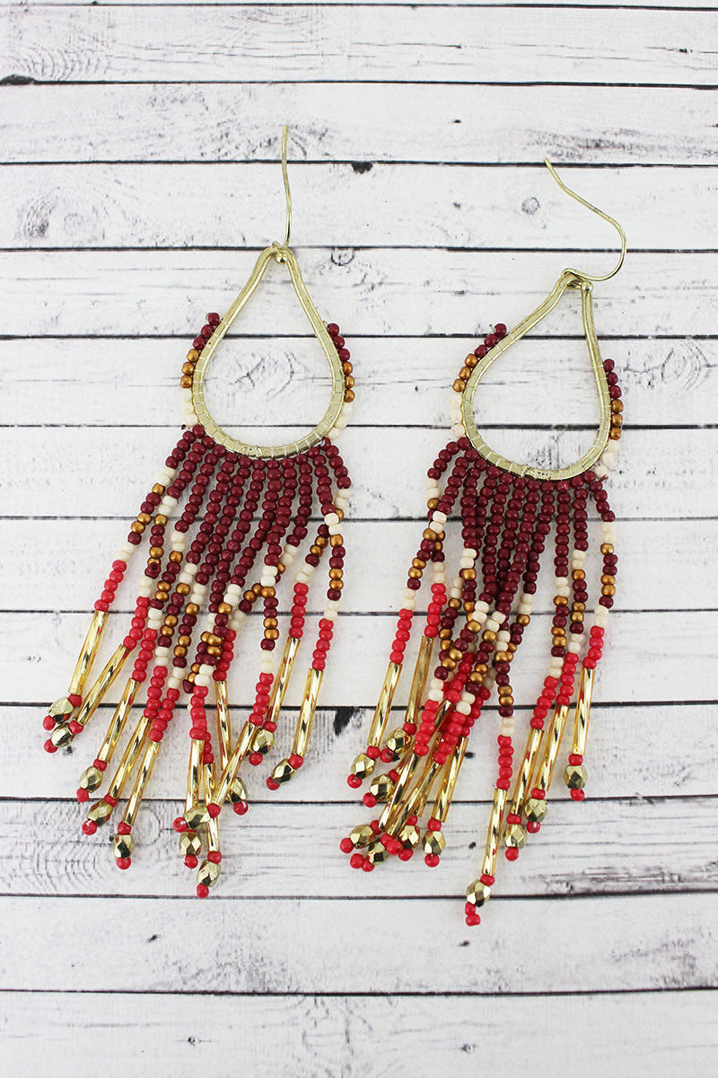 Goldtone and Burgundy Multi-Color Seed Bead Teardrop Fringe Earrings