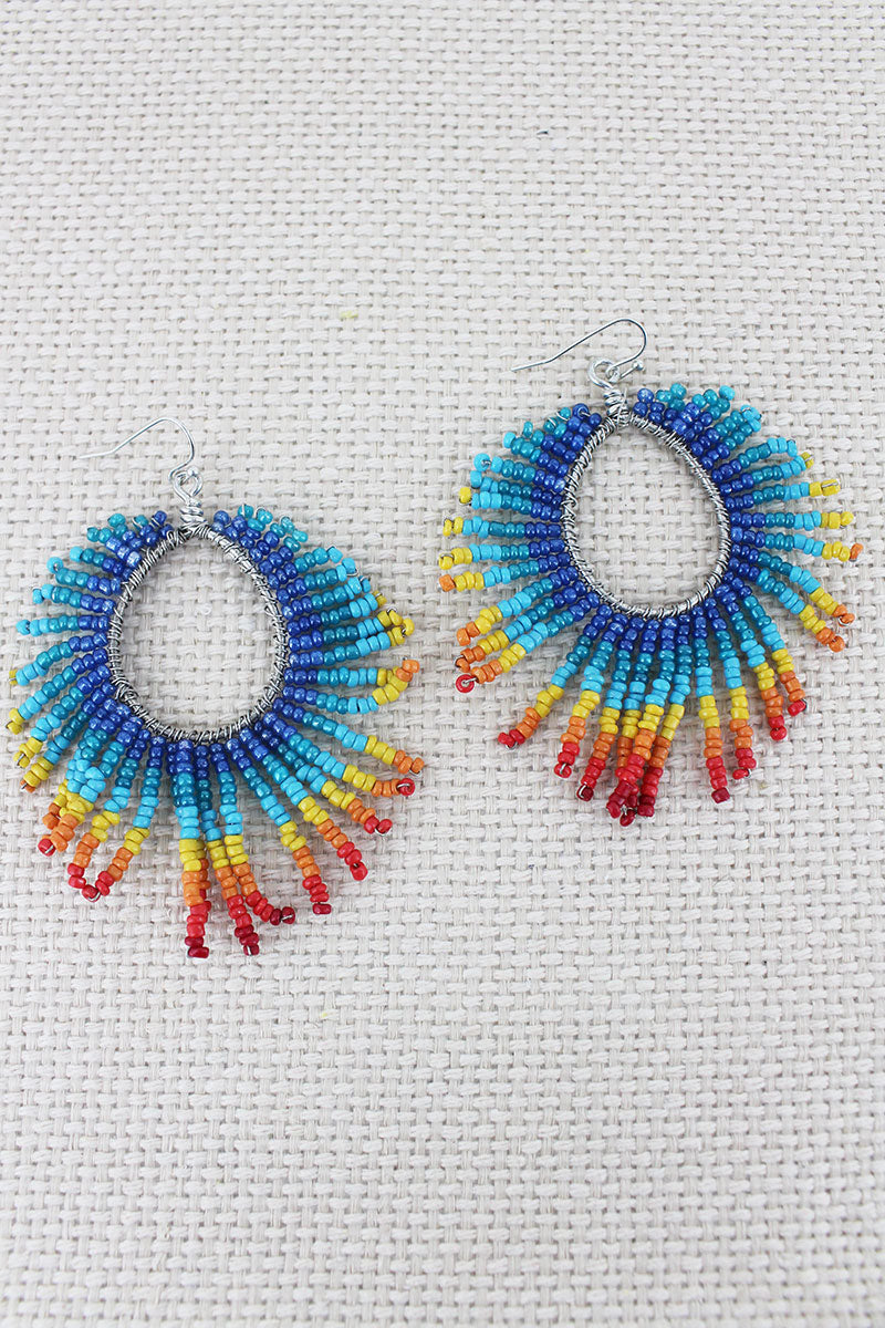 Rainbow Seed Bead Teardrop Fringe Earrings