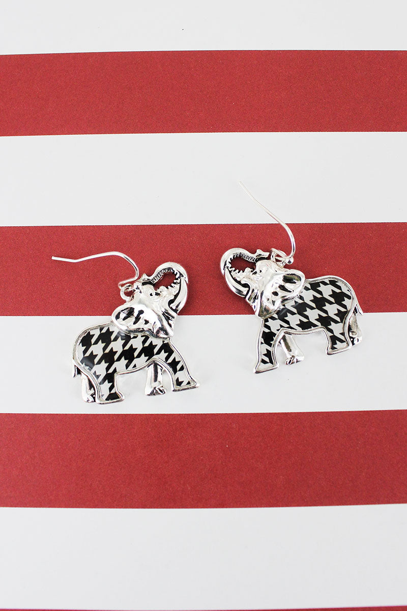 Silvertone and Houndstooth Elephant Earrings