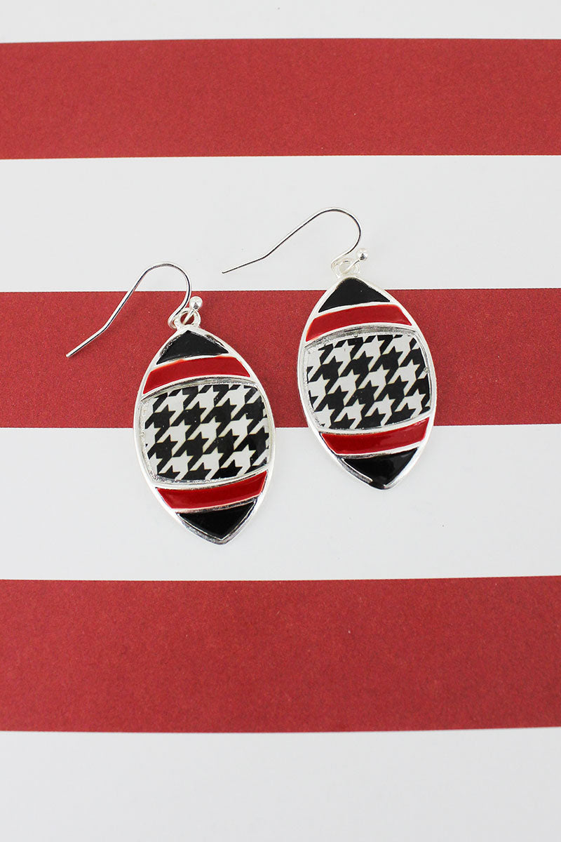 Houndstooth, Red, and Black Silvertone Earrings