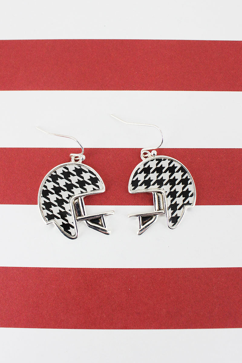Silvertone and Houndstooth Football Helmet Earrings