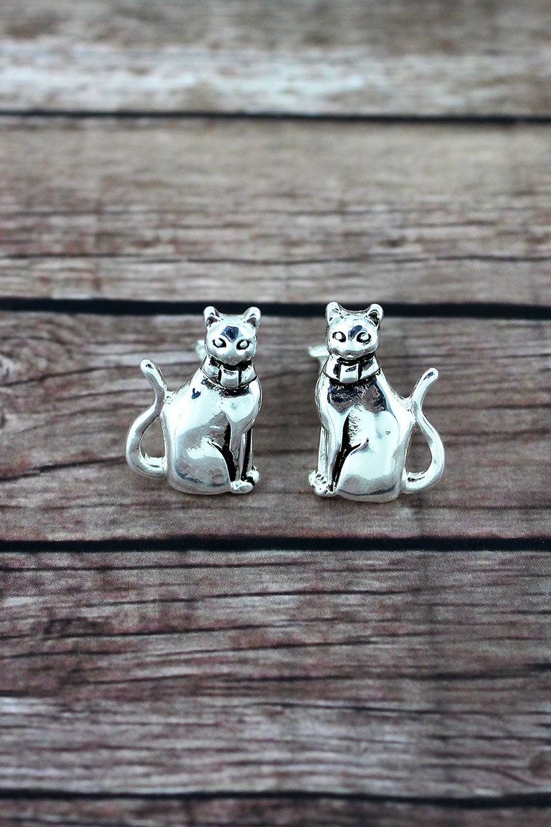 Silvertone Cat Clip-On Earrings