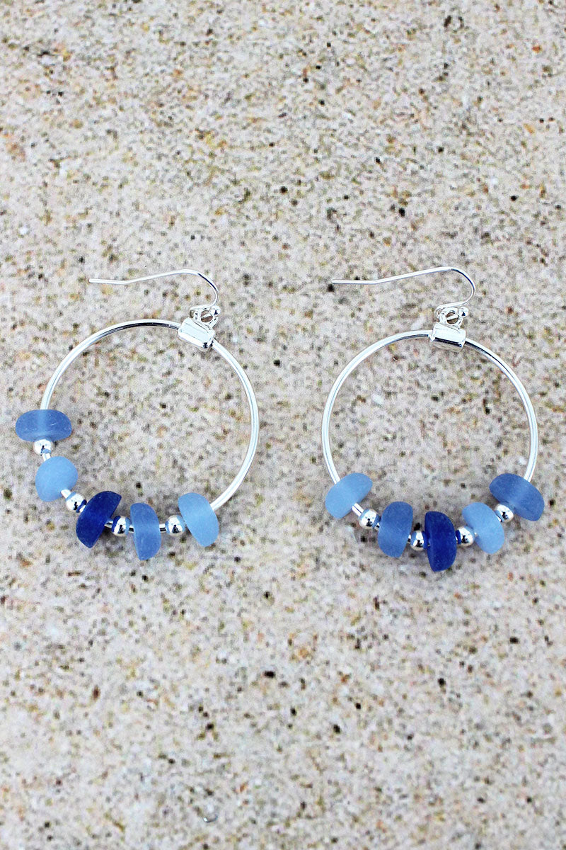 Silvertone and Blue Sea Glass Beaded Hoop Earrings