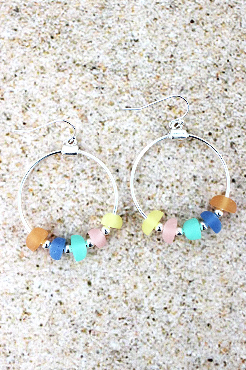 Silvertone and Multi-Color Sea Glass Beaded Hoop Earrings