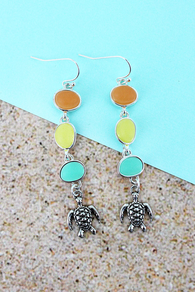 Dangling Tri-Color Sea Glass and Silvertone Turtle Earrings