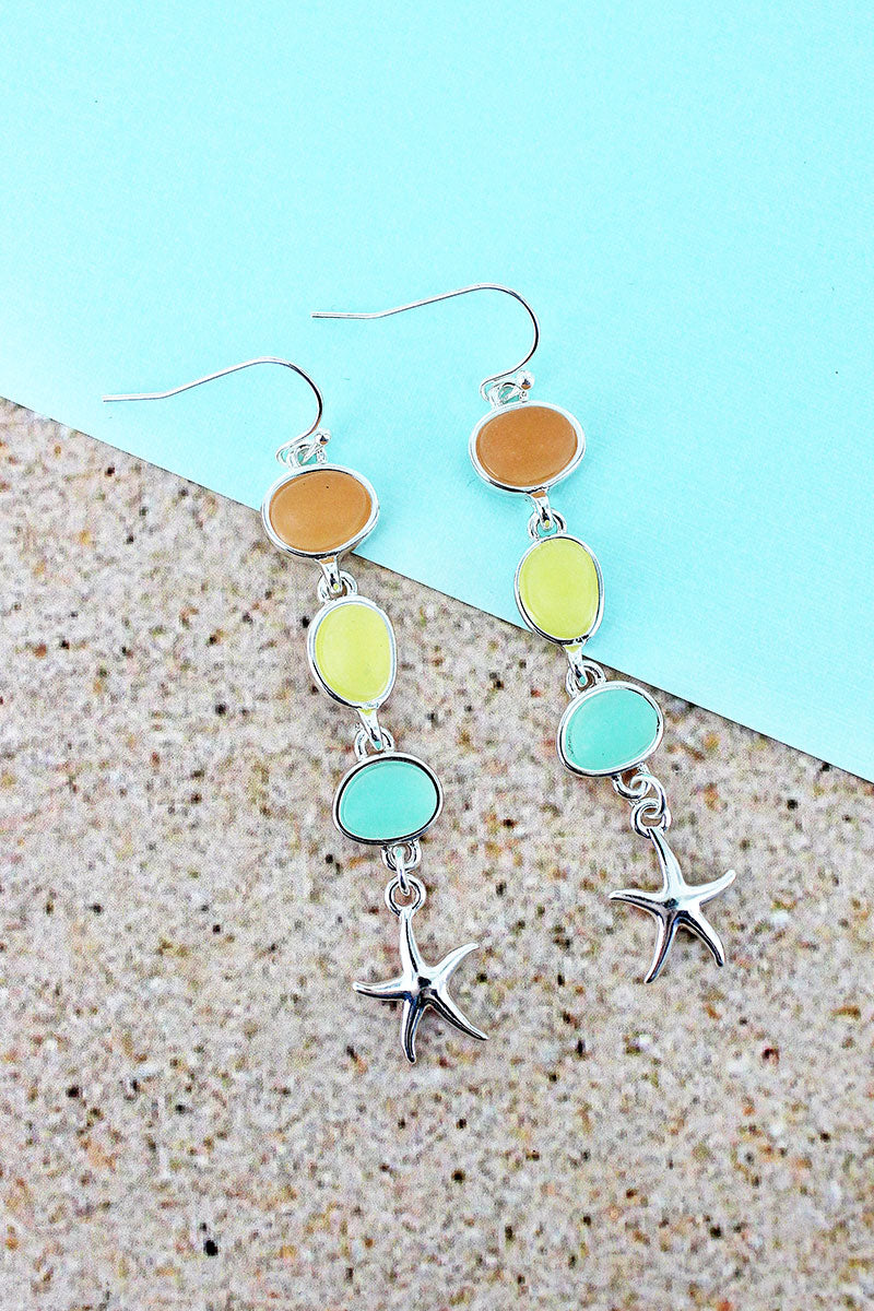 Dangling Tri-Color Sea Glass and Silvertone Starfish Earrings