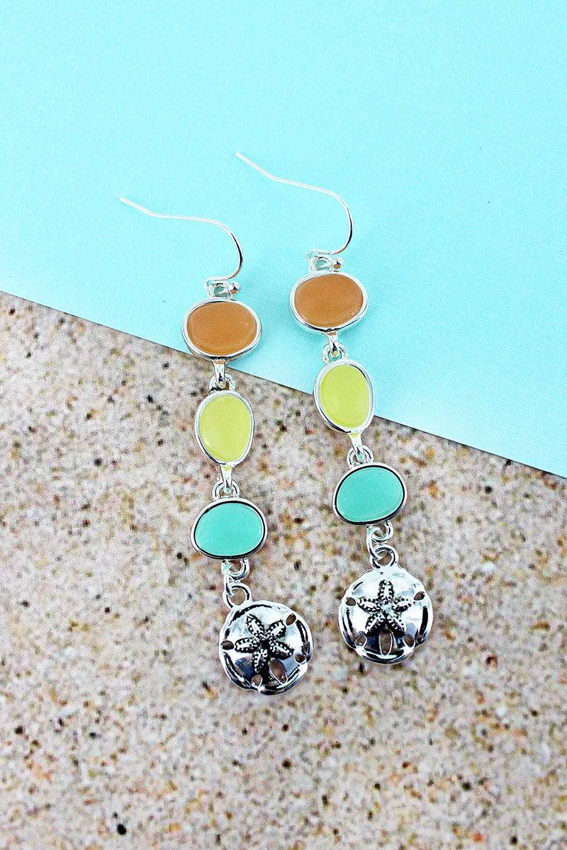Dangling Tri-Color Sea Glass and Silvertone Sand Dollar Earrings