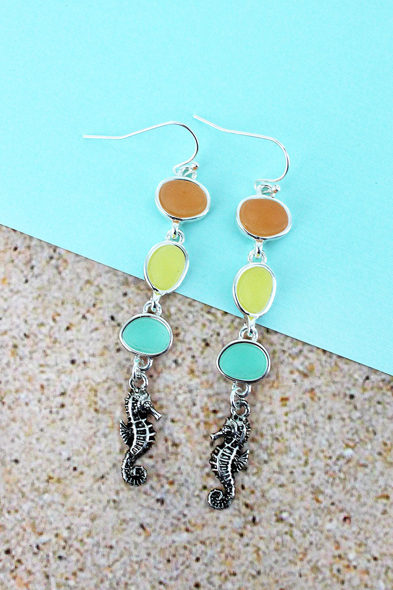 Dangling Tri-Color Sea Glass and Silvertone Seahorse Earrings