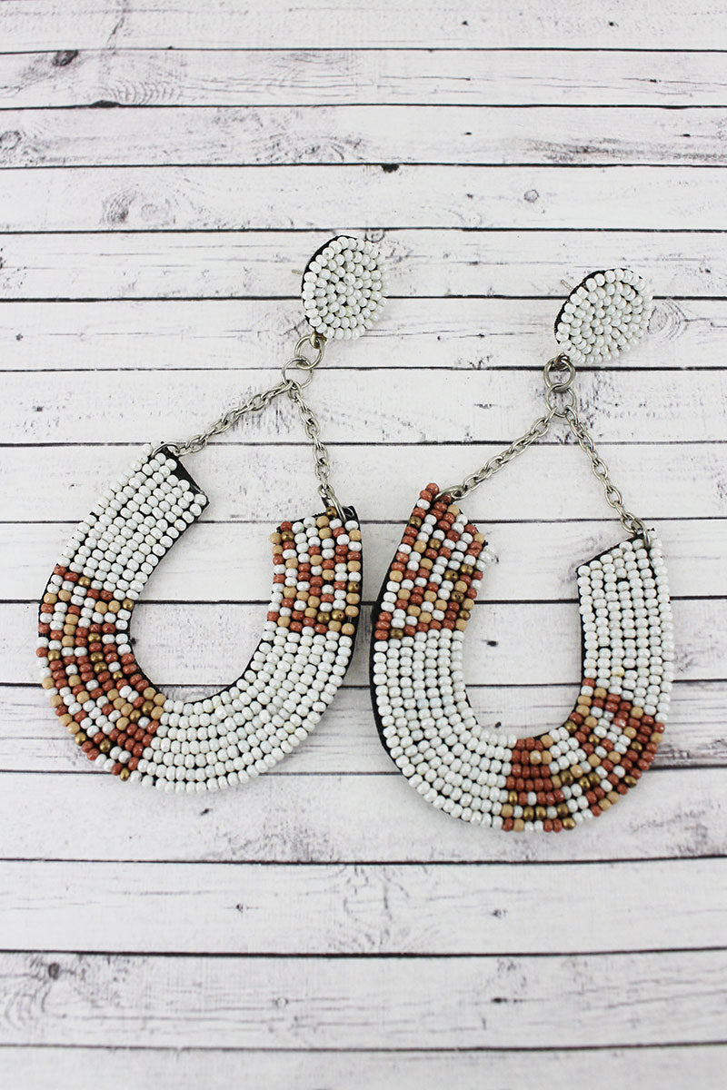 Ivory Multi Colorblock Seed Bead Horseshoe Chain Earrings