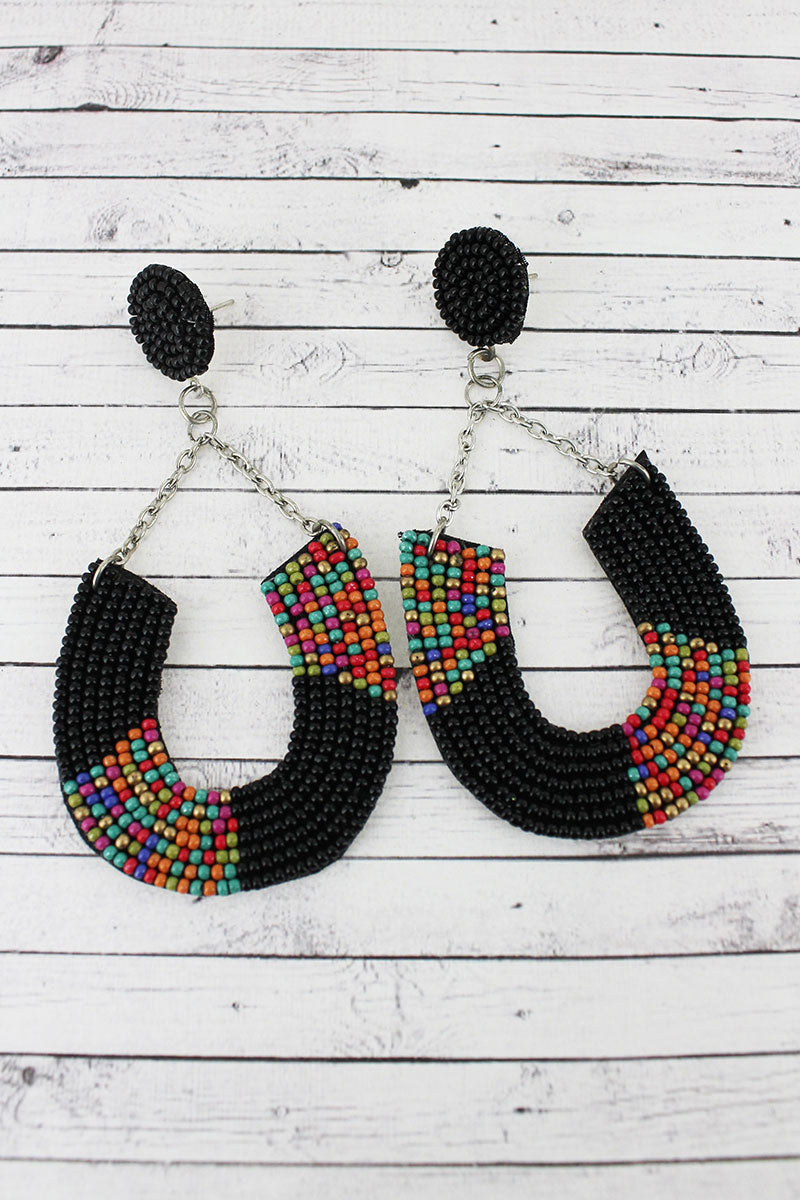 Black Multi Colorblock Seed Bead Horseshoe Chain Earrings