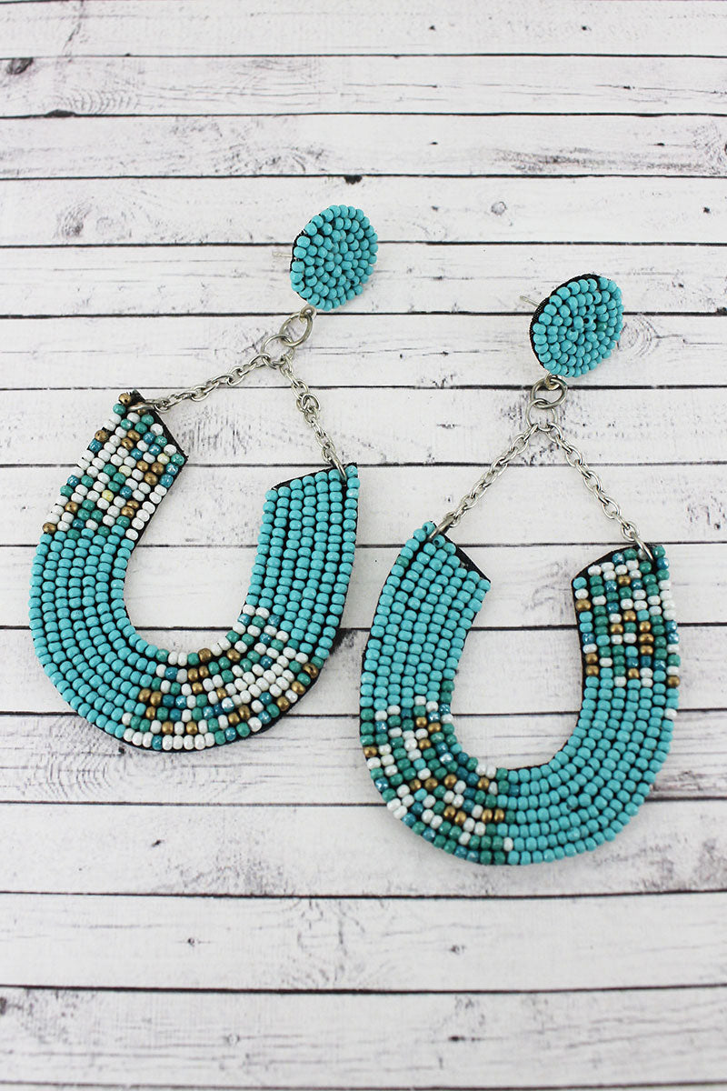 Turquoise Multi Colorblock Seed Bead Horseshoe Chain Earrings