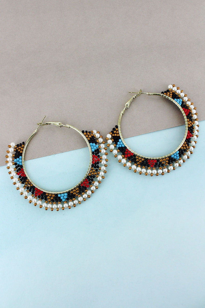 White Multi-Color Seed Bead Hoop Earrings