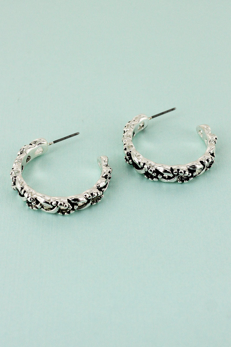 Silvertone Dot Textured Braided Hoop Earrings