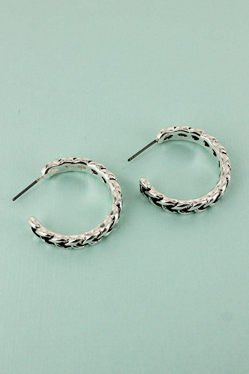 Silvertone Braided Hoop Earrings