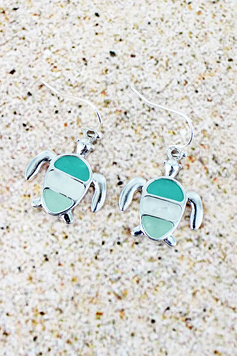 Tri-Color Sea Glass and Silvertone Turtle Earrings
