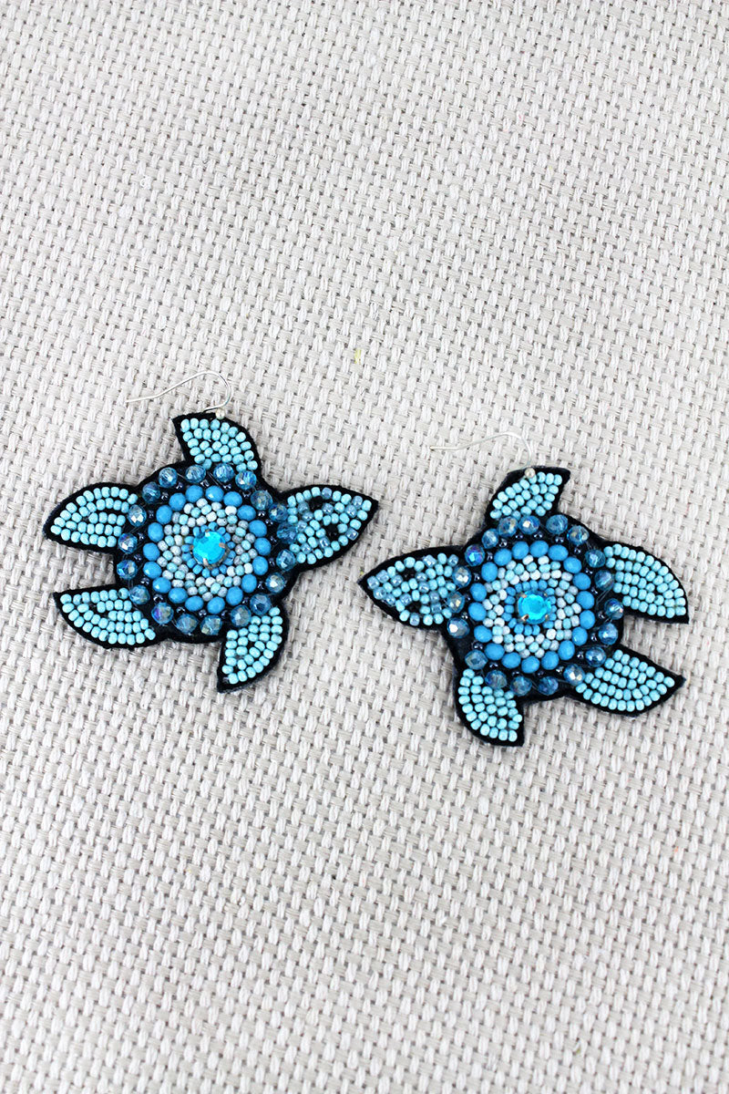 Blue Seed Bead and Crystal Turtle Earrings