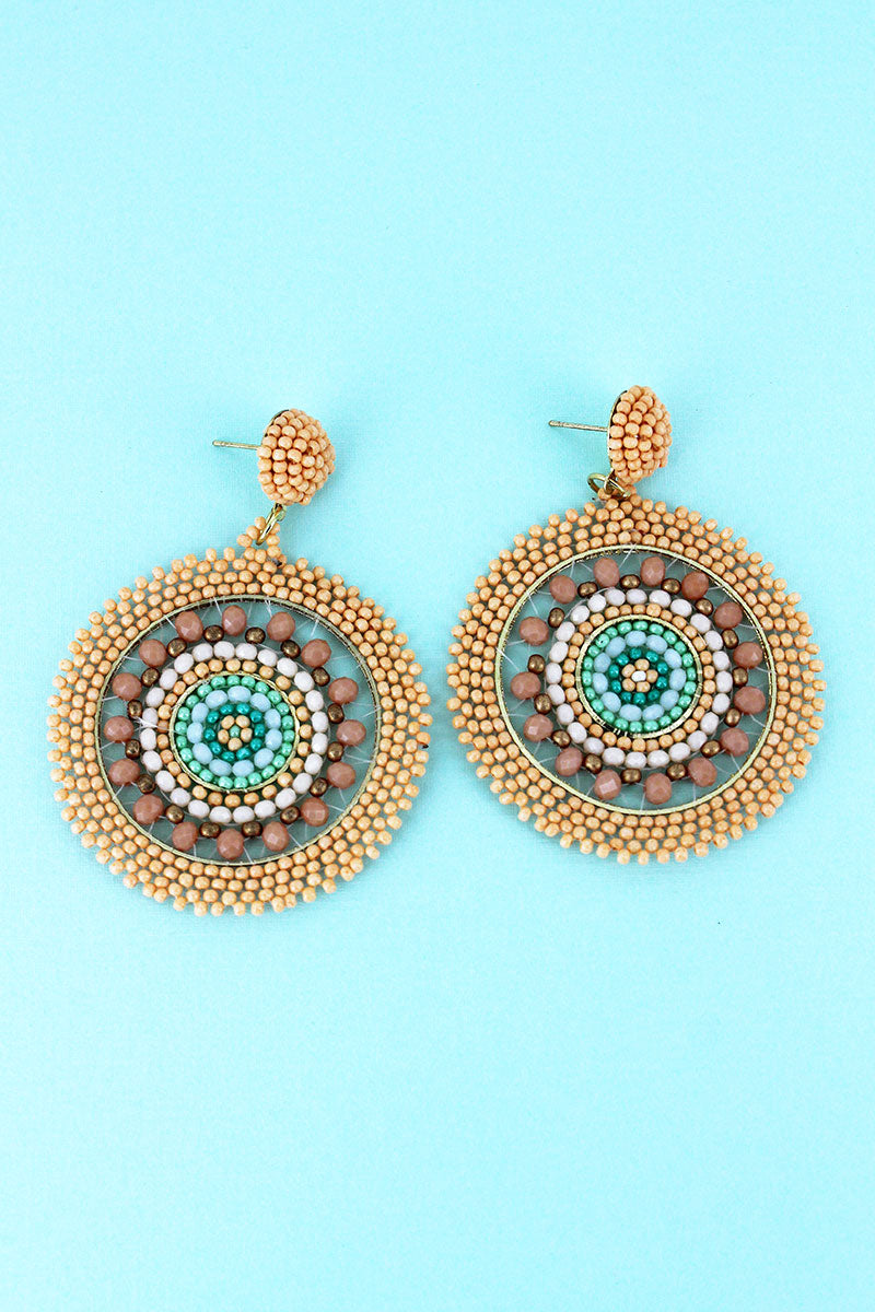 Peach Seed Bead Medallion Earrings