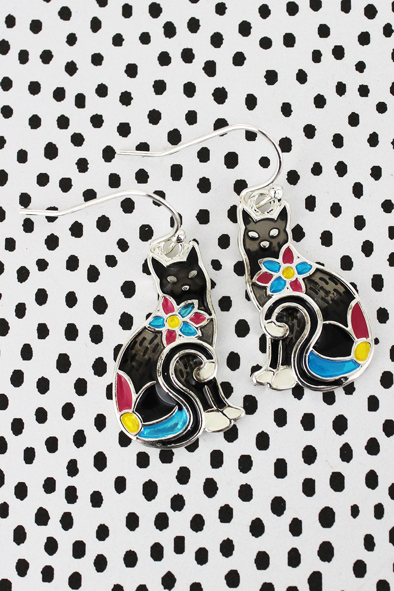 Flower Mosaic Black Cat Earrings