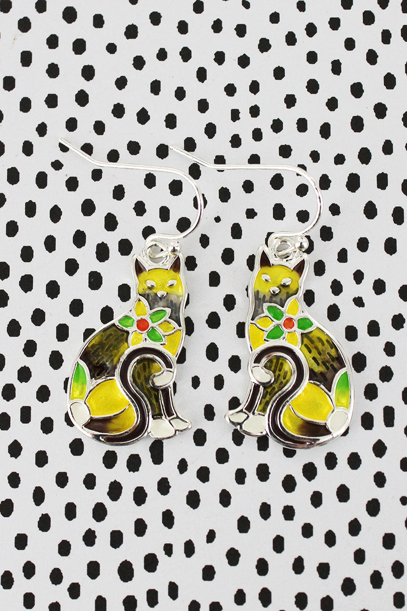Flower Mosaic Yellow Cat Earrings
