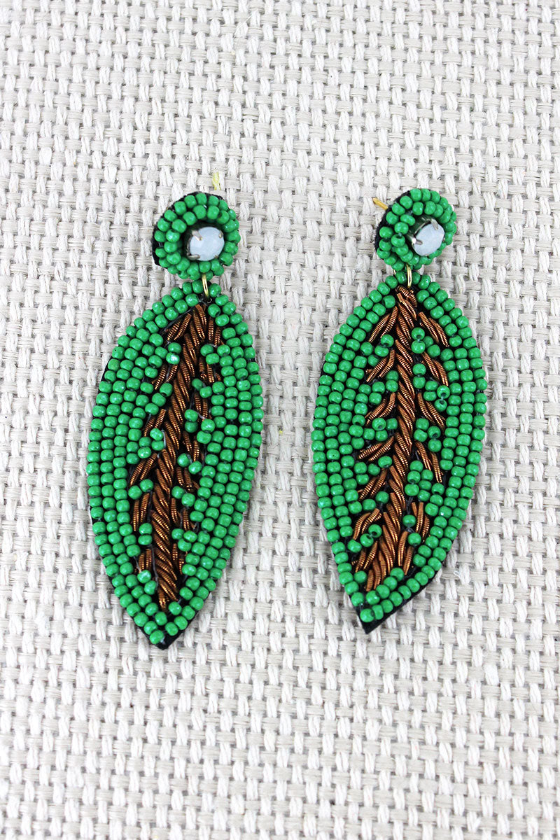 Green Seed Bead and Gold Cord Leaf Earrings