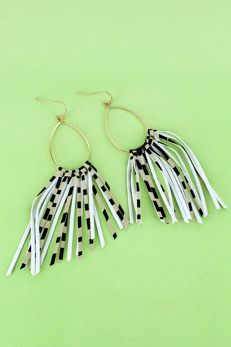 Goldtone and Beige Zebra Fringe Earrings